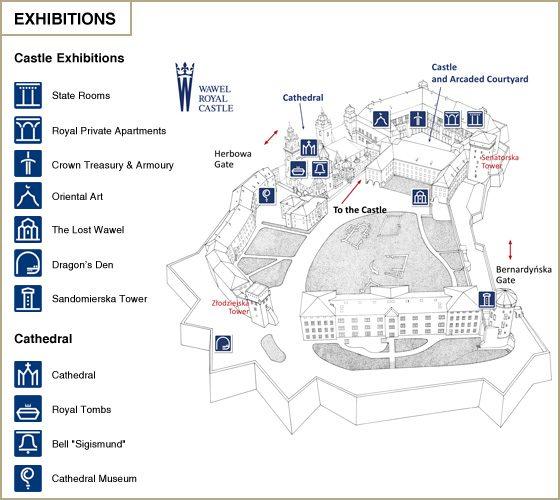 クラクフヴァヴェル城地図トイレ郵便局ポスト