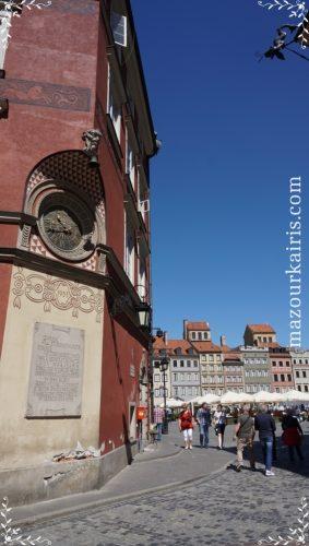 ワルシャワ旧市街建物歴史広場日時計