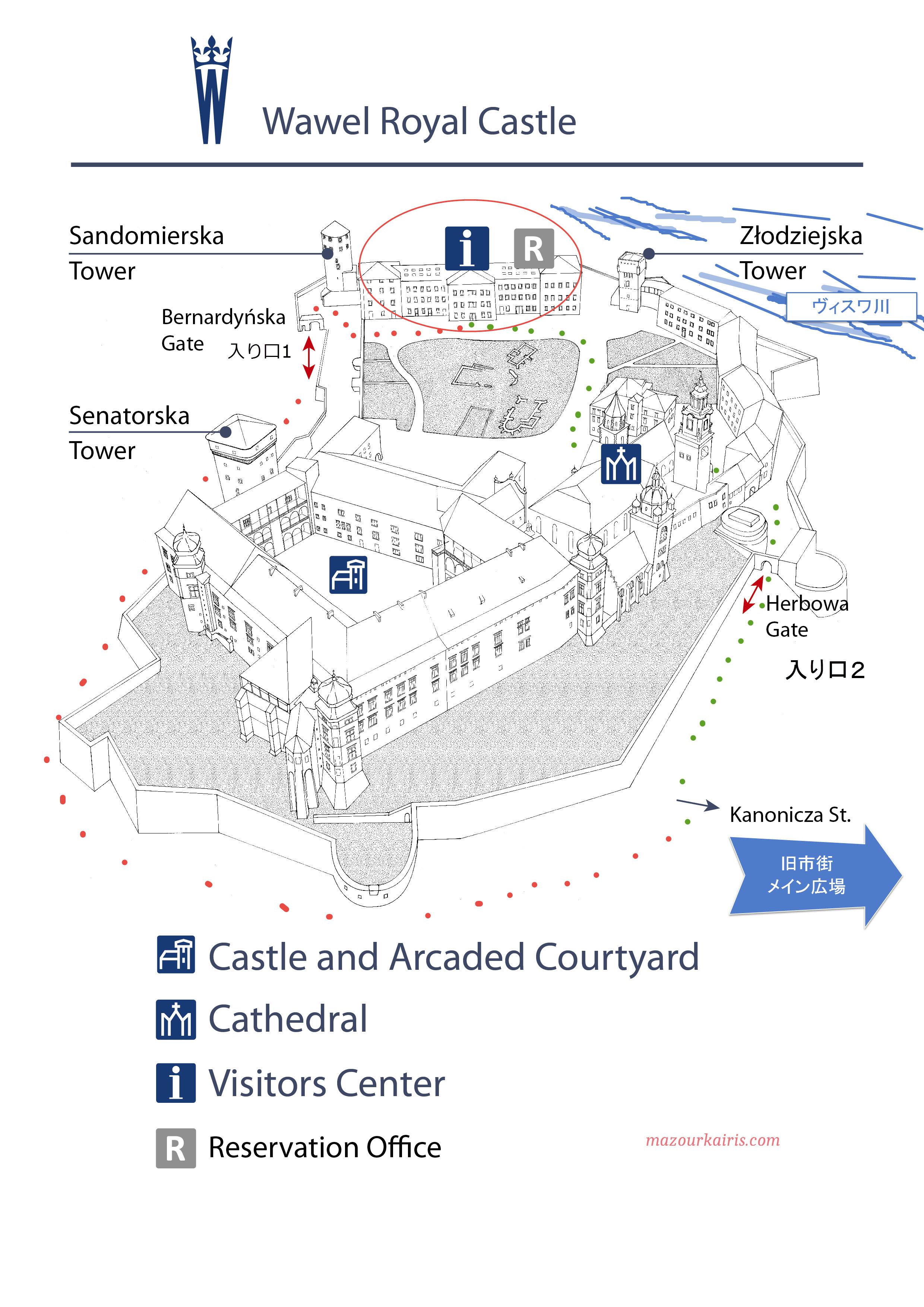 クラクフヴァヴェル城チケット予約の仕方地図